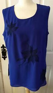 Ladies JACQUES VERT blue sleeveless blouse - Size 16