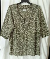 LEOPARD Deconstructed 26/28 3X 2X AVENUE Print Green & White Stretch Adorned Top