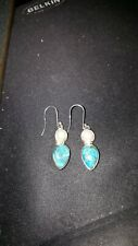 Shivam Made in India .925 Sterling Silver Turquoise Pearl Earrings - New
