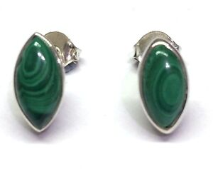 Handmade 925 Sterling Silver 11mm x 6mm Malachite Marquise Pip Stud Earrings