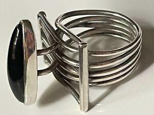 Vintage 70's sterling silver/black onyx ring 10.23g band size M brutalist retro