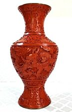 "Authentic Chinese Red Carved Cinnabar Vase 8"" Dragon Floral Enamel & Brass"