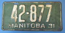 1931 Manitoba Canada license Plate