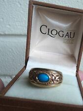 LARGE Welsh 9ct Clogau Gold Turquoise Celtic Design Ring  h/m 1993 -  size O