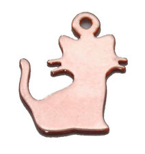 1 STERLING SILVER 925 CAT / KITTY CHARM / PENDANT, 14.5 MM, ROSE GOLD PLATED