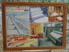 ancienne affiche scolaire rossignol, manufacture textile, foire bétail
