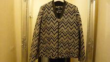 Mango Suit Damen Jacke Blouson  Baumwolle/Echt Leder  schwarz/weiß  Gr.L NEU