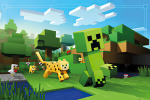 """Minecraft - Gaming Poster / Print (Ocelot Chasing Creeper) (Size: 36"""" X 24"""")"""