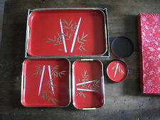 BRT Original Boxed Set of Retro/Vintage Asian Food Serving Trays & Coaster Set
