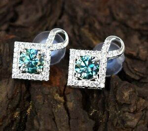 Easter Sunday Offer 6.77 Ct Certified Green Diamond Solitaire Studs Earrings