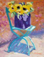 """Mona Vivar original impressionist street flowers sunflowers art painting 14""""x11"""""""