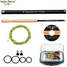 12FT Tenkara Rod Combo Carbon Fiber Telescopic Fly Fishing Combo Furl Leader