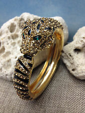 PANTHER LEOPARD LION JAGUAR CHEETAH CAT GOLD CUFF BRACELET STONES & BLACK ENAMEL