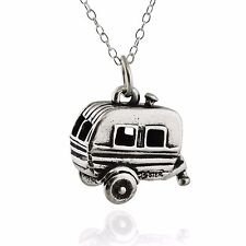 Travel Trailer 3D Charm Necklace - 925 Sterling Silver - Camping Camper RV Woods