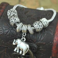 Fashion Vintage Tibetan Silver Elephant Charm Bracelet Chain Bangle Jewelry Gift