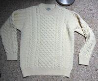 VINTAGE Men's Large LL Bean 100% Wool Fisherman's Sweater Made In Ireland  KNIT