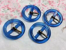 LOT 4 ANCIENNE BOUCLE DE CEINTURE plexiglass bleu vintage 3.8 cm C2