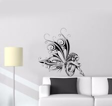 Wall Decal Naked Sexy Girl Butterfly Flower Pattern Fantasy Fairy Vinyl (ed770)