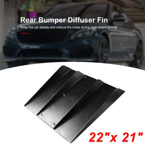 "22"" X 21"" Black Universal Car Rear Bumper 4 Shark Fins Spoiler Wing Diffuser AU"