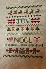 Finished Completed Cross Stitch Natural Christmas Xmas Sampler Joy Noel Piece
