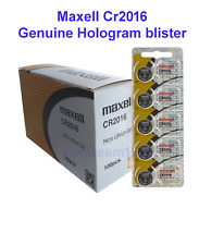 100 count of Maxell CR2016 Genuine Holgram blister cells made in Japan