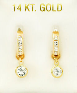WHITE SAPPHIRES 2.98 Cts DANGLING HUGGIE EARRINGS 14k Yellow Gold * NEW WITH TAG