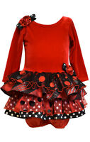 Bonnie Jean Baby Girls Christmas Holiday Santa Dress  Red Velvet 12 18 24 Months
