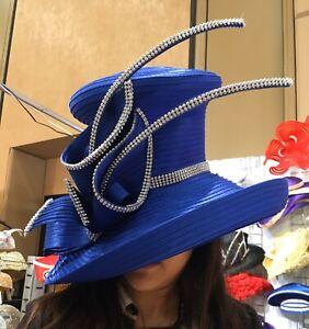 NEW Charm NY Royal Blue RHINESTONE Wide Brim HAT CHURCH BLING COGIC DERBY