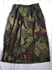 Vintage Hannington Boston Women's Skirt Pockets Belt Loops Floral Red Green
