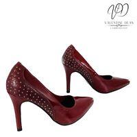 Kerline Women's Shoes Burgundy Studded Faux Patent Courts Size 4 Uk / 37 Eu