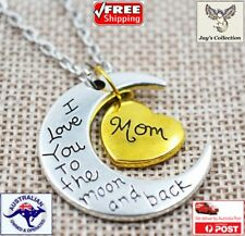 Mother's Day I Love You Mom Heart Moon Beautiful Pendant Necklace Gift [A3T~B31]