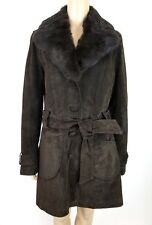OAKWOOD THE LEATHER BRAND Brown Suede Belted Coat w/ Removable Fur Sz L $440