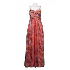 JS Boutique Sweetheart Neckline Criss Cross Chiffon Dress, Coral Multi,16