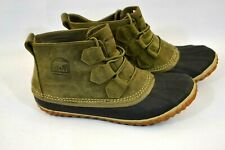 Women's SOREL Out N About Waterproof Duck Boots Leather Taupe Navy sz.7
