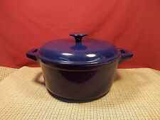 """Technique Cast Iron Enameled Covered Dutch Oven Blue 9 3/4"""" W"""