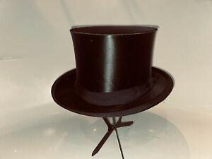 Antiker Zylinder Hut Chapeau Claque Top Hat Gr 59 / 60 XL Umtauschmöglichkeit