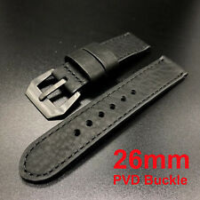 26mm All Black Cowhide Leather Strap Band+PVD Buckle for New 47mm Panerai Watch