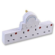 4 Gang Way Plug Switched Surge & Spike Protected Adaptor Multi Plug 13A socket