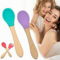 Wooden Silicone Tableware Spoon Infant Baby Spoon Fork Safety Feeding Tableware