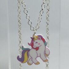 Cute Bright Pastel Rainbow Heart Unicorn Pendant Necklace Resin Kitsch Medium