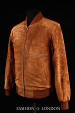 Men's 70'S BOMBER Leather Jacket Tan Pilot Aviator Style Suede Leather Jacket