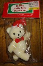 "New NOS Holiday Teddy Bear Ornament Flocked Felt White Christmas Xmas 4"""