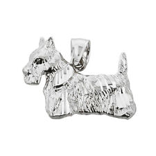 Polished Sterling Silver Scottish Terrier Dog Charm Pendant
