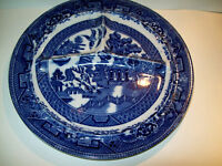 """ENGLAND FLOW BLUE WILLOW GRILL DINNER  PLATE 10""""  MINT"""