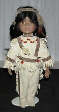 """Native American Doll """"Unique"""" Brand, 14"""" Navajo Girl In Outfit, Pre-Owned, Good!"""