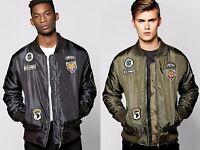 Mens MA1 Badge Bomber Jacket Flight Army Coat Harrington Military Zip Biker Male