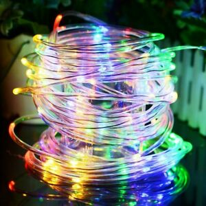 Solar Powered100Leds Rope Tube Fairy String Strip Lights Yard Outdoor Patio Xmas