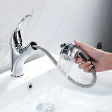 Bathroom Kitchen Pull Out Sink Taps Spray Spring Chrome Brass Basin Mixer Faucet