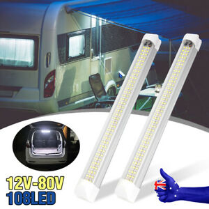 2X 108LED Strip Lights BAR 12V Car Interior Lamp Camping Caravan Boat Cool White