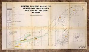 Vintage 1978 General Geology Map Of The Keweenawan Copper Range, Michigan